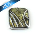 Blacklip 31mm square pendant w/ metal frame and coco back