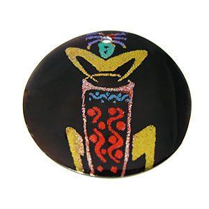Tab Shell Round Painted Drumming Kokopelli Pendant