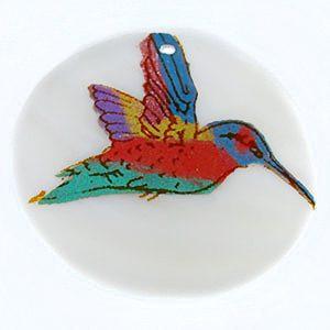 Makabibi Round Painted Embossed Hummingbird Pendant