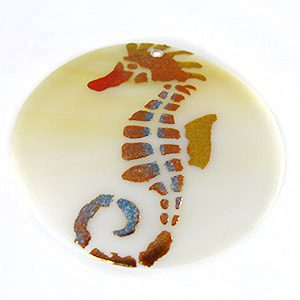 Makabibi Round Painted Embossed Seahorse