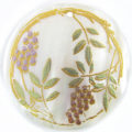 Grape Tree Laser Design Round Makabibi Shell Pendant
