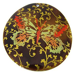 Tab Shell Round Painted Golden Butterfly Pendant
