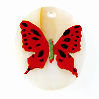 Makabibi Oval Painted Embossed Butterfly Red