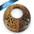 Robles wood carved w/ butterfly oval pendant