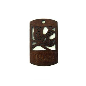 wooden charm stained-peace 43mmx25mm