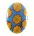 Sunflower vine inlay 50x35mm blue oval