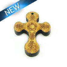 Mahogany wood cross laserdesign 28x20mm