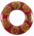Albutra wood inlay donut shape red 60mm