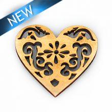 White wood laser cut heart shape 40x37mm