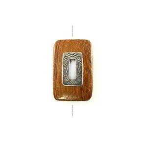 Bayong rectangle design 30x20mm / A-Silver