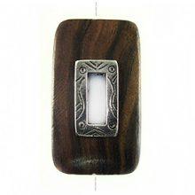 Kamagong rectangle design 45x25mm /A-Silver