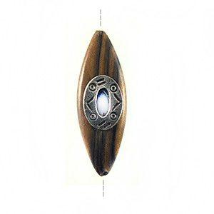 Kamagong elongated oval 40x15mm/A-Silver