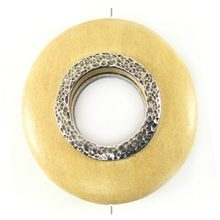 White wood round 50mm / A-silver metal