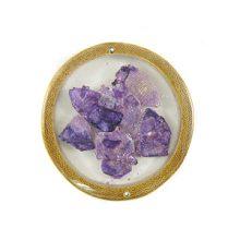 wholesale Bamboo cuts w/ broken capiz pendants purple