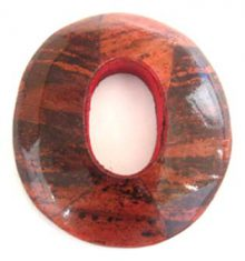 wholesale Banana inlay oval w/center hole orange pendant