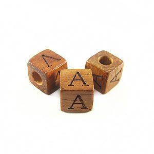 "Bayong Alphabet Wood Bead 8mm ""A"""