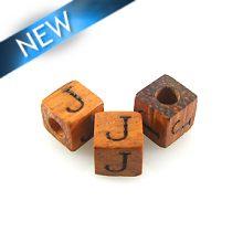 "Alphabet ""J"" wood bead bayong 8mm square"