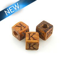 "Alphabet ""K"" wood bead bayong 8mm square"