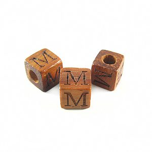 "Bayong Alphabet Wood Bead 8mm ""M"""