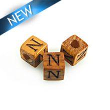 "Alphabet ""N"" wood bead bayong 8mm square"