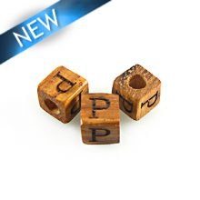 "Alphabet ""P"" wood bead bayong 8mm square"