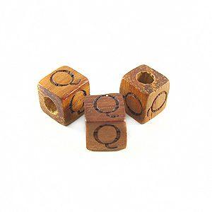 "Bayong Alphabet Wood Bead 8mm ""Q"""