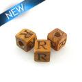 "Alphabet ""R"" wood bead bayong 8mm square"