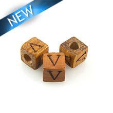 "Alphabet ""V"" wood bead bayong 8mm square"