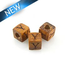 "Alphabet ""Y"" wood bead bayong 8mm square"