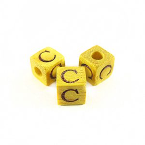 "Nangka Alphabet Wood Bead 8mm ""C"""