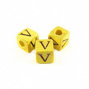 "Nangka Alphabet Wood Bead 8mm ""V"""