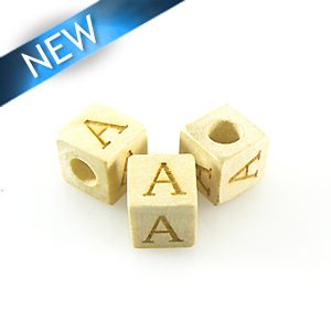 "Alphabet ""A"" White Wood Bead 8mm Square"