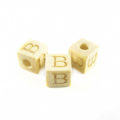 "White wood Alphabet Wood Bead 8mm ""B"""