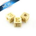 "Alphabet ""E"" white wood bead 8mm square"