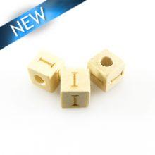 "Alphabet ""I"" white wood bead 8mm square"