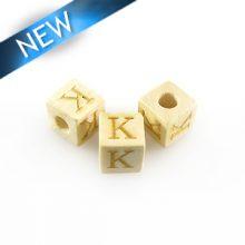 "Alphabet ""K"" white wood bead 8mm square"
