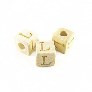 "White wood Alphabet Wood Bead 8mm ""L"""