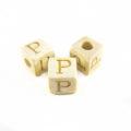 "White wood Alphabet Wood Bead 8mm ""P"""