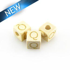 "Alphabet ""Q"" white wood bead 8mm square"