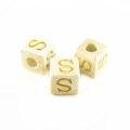 "White wood Alphabet Wood Bead 8mm ""S"""