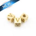 """Alphabet """"V"""" white wood bead 8mm square"""