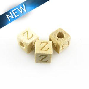 "Alphabet ""Z"" white wood bead 8mm square"
