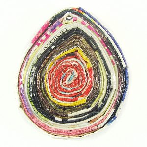 paper beads teardrop multi color 35x30mm wholesale pendants