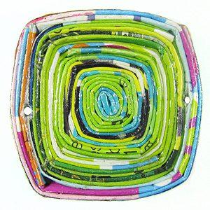 paper beads sqr pend multi color 35x35mm wholesale pendants