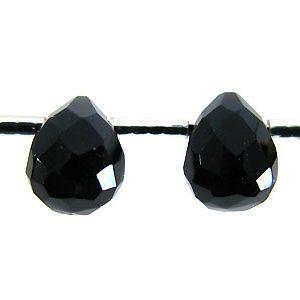 black agate briollete 6x8mm wholesale gemstones