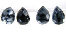 Snowflake Obsidian Briollette faceted 6x8mm wholesale gemstones