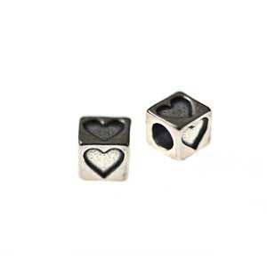 Heart Sterling Silver Alphabet Beads 4.5mm