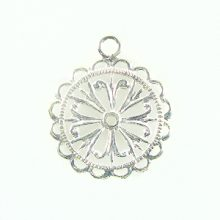 flower charm silver finish 20x28mm wholesale