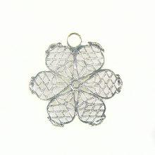 6-piece petal flower silver finish 28mm wholesale