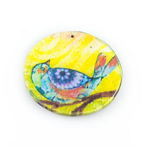 paper print wood pendant flat disc bird design